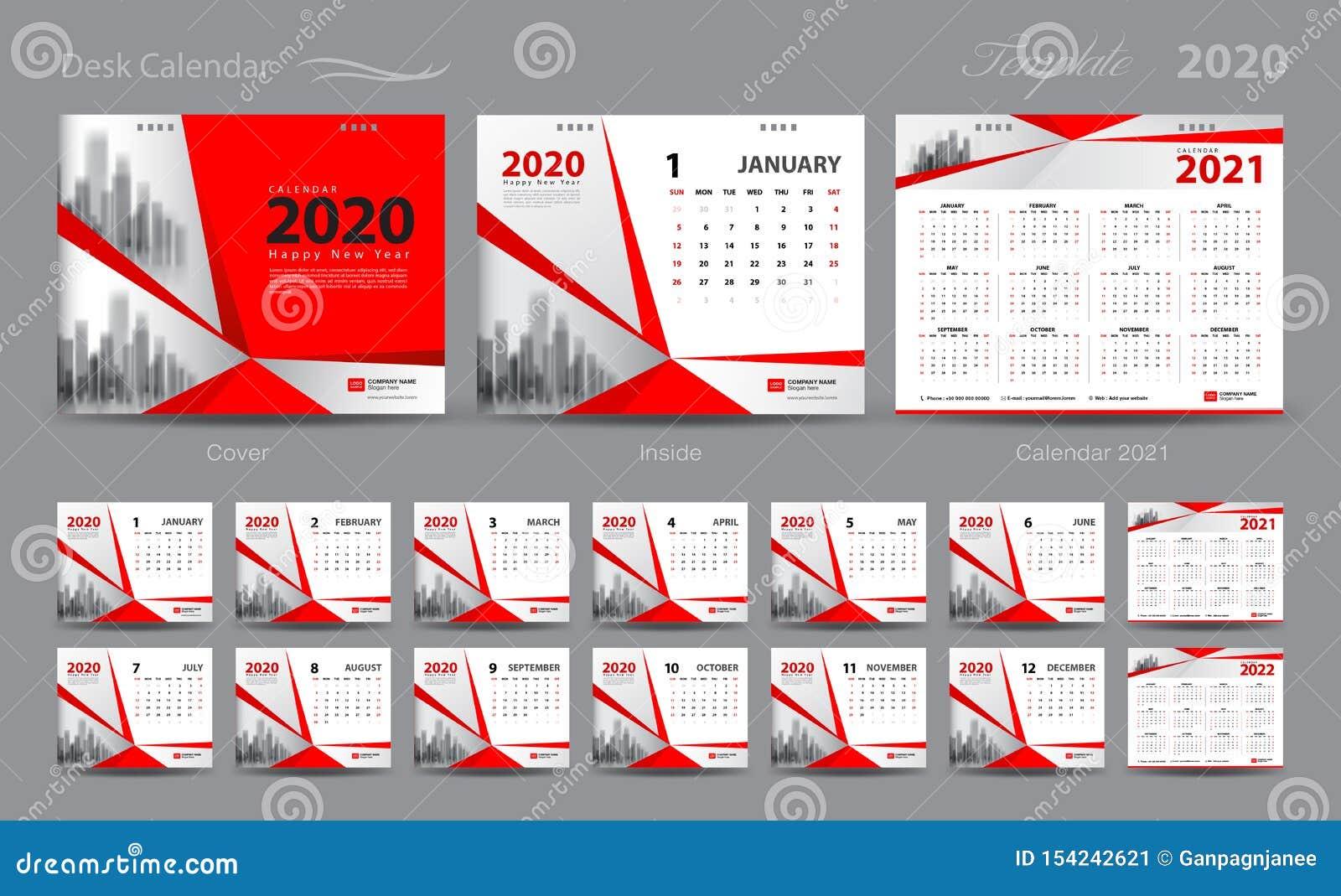 Desk Calendar 2021-2022 Set Desk Calendar 2020 Template Vector, Calendar 2021 2022, Cover