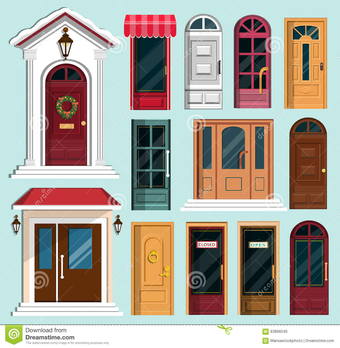 1330 #AA212D Set Of Detailed Colorful Front Doors To Private Houses And Buildings pic Colorful Front Doors 47111300