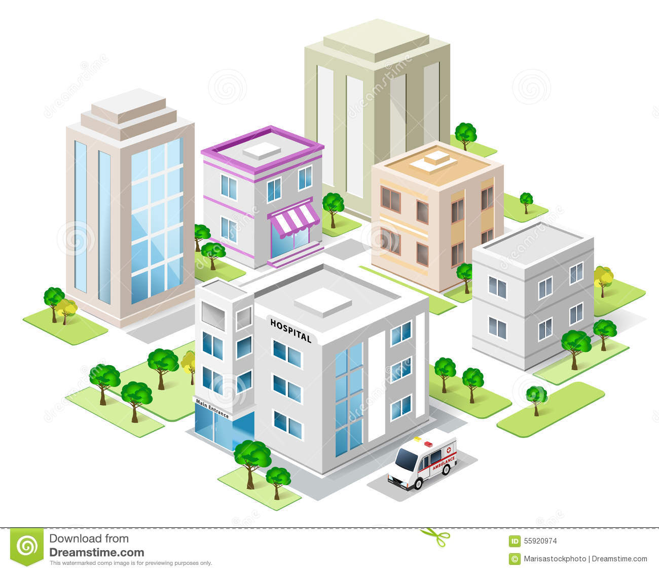 Set of detailed isometric city buildings 3d vector for Disegno 3d free