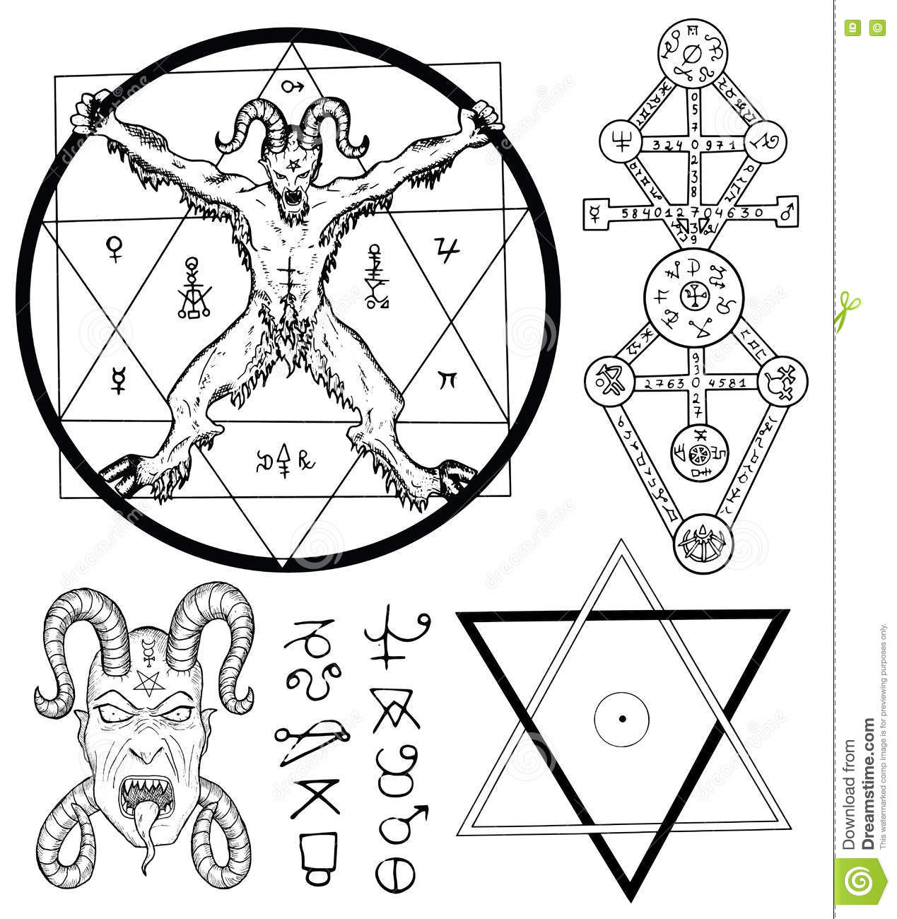 Set With Devil Satan Pentagram And Mystic Symbols Stock Vector