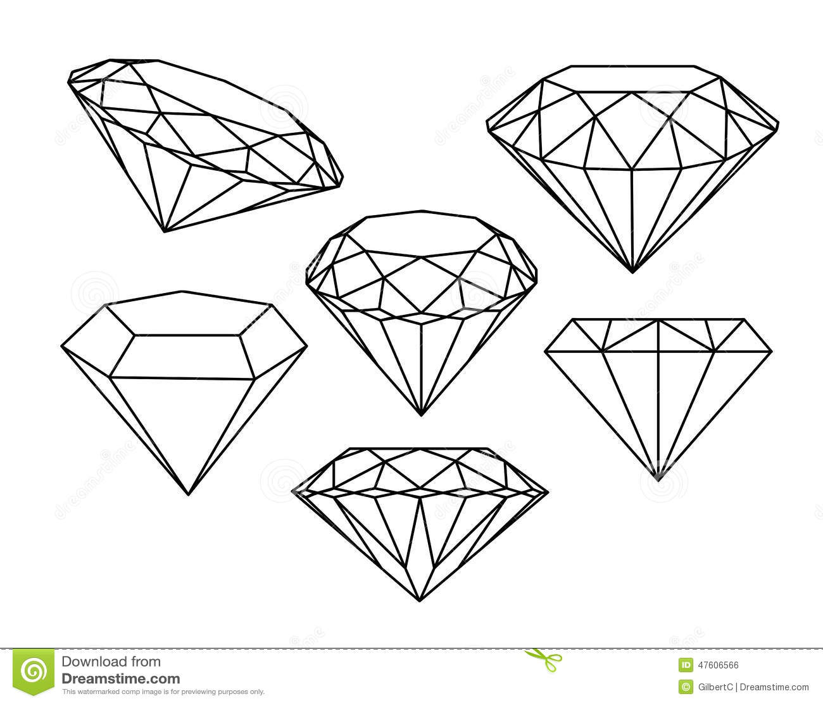 set of diamonds icons stock vector image 47606566