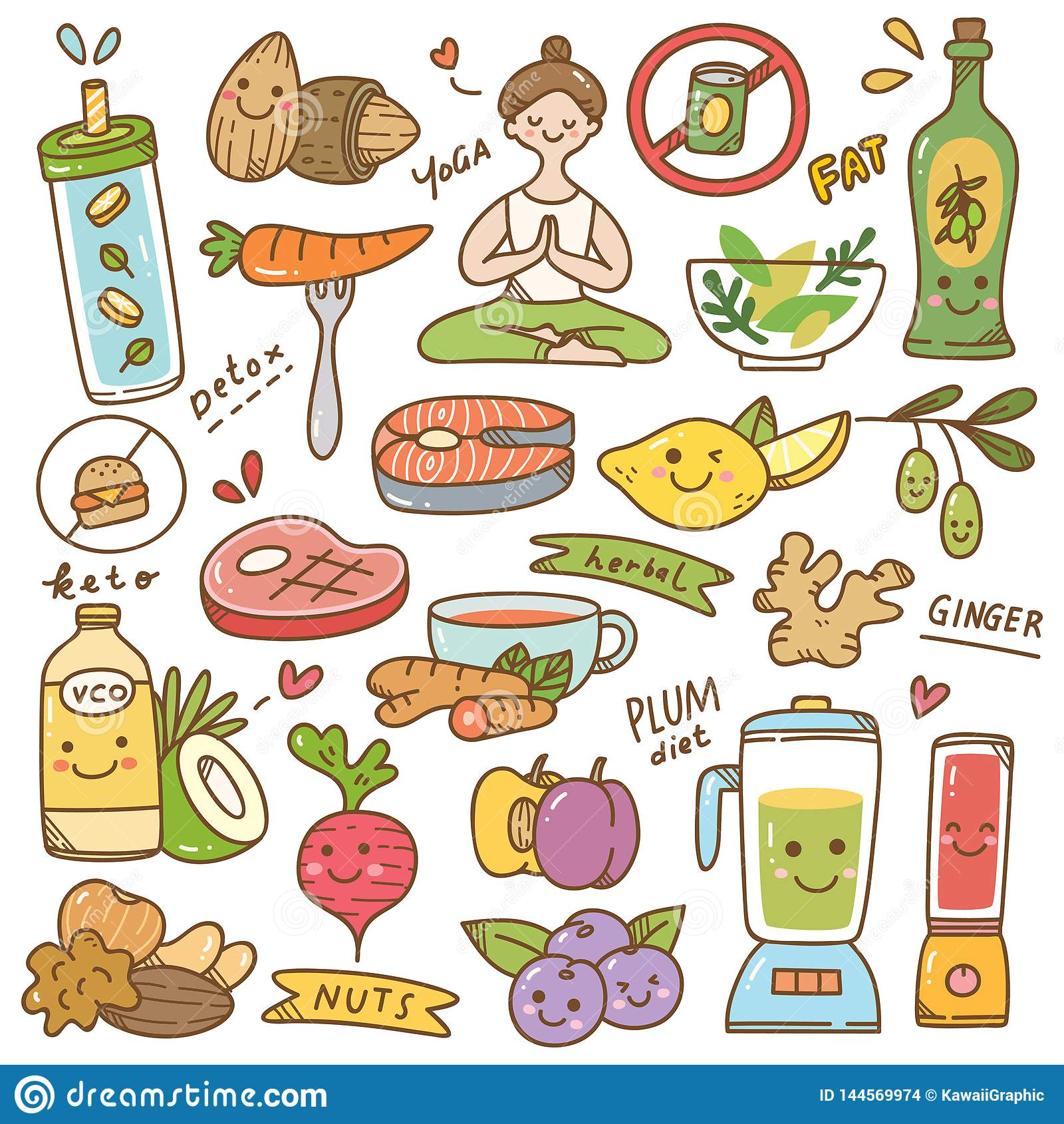 Set of diet kawaii doodle