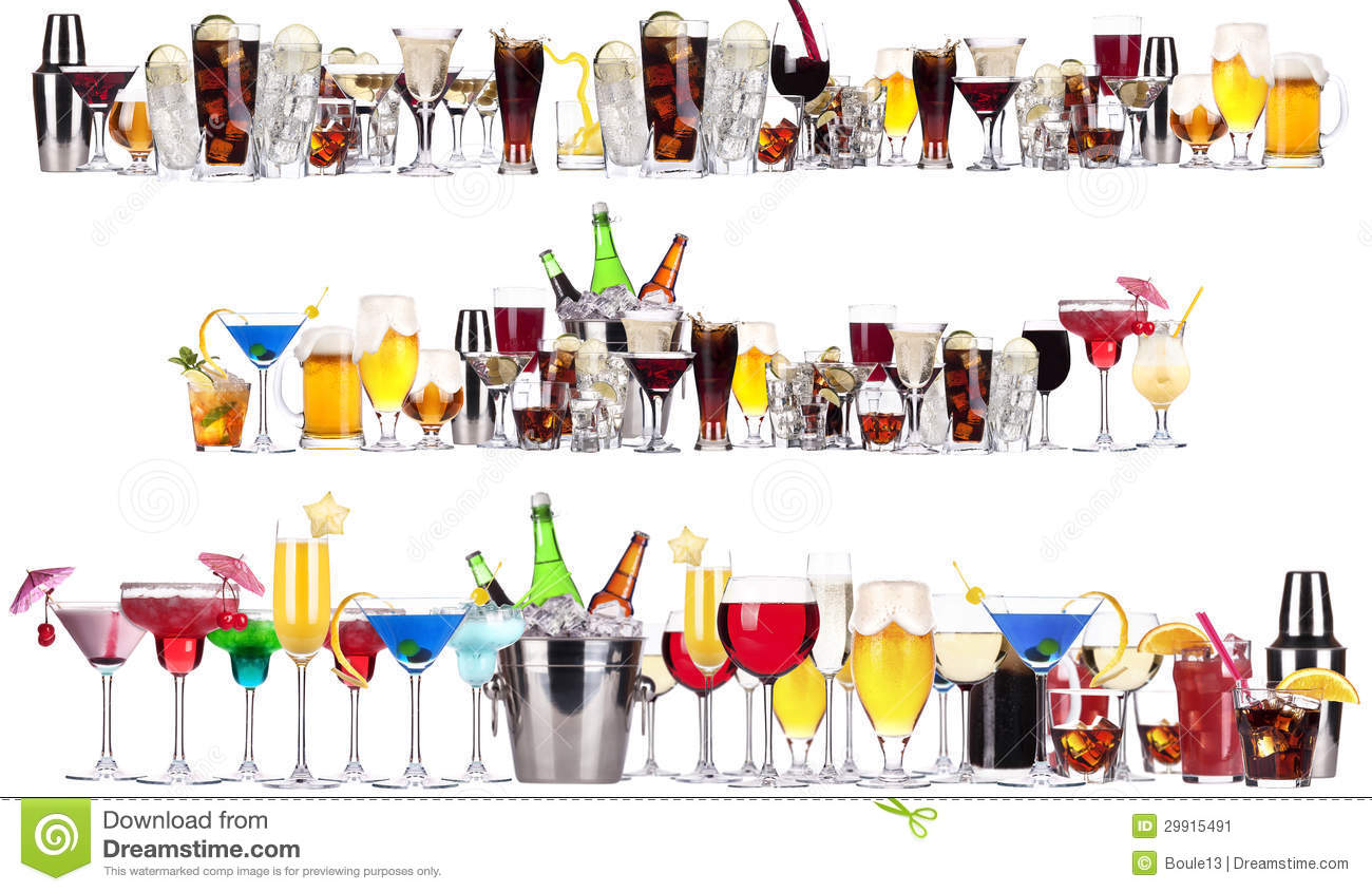 Set of different alcoholic drinks and cocktails stock for Mix drinks with wine