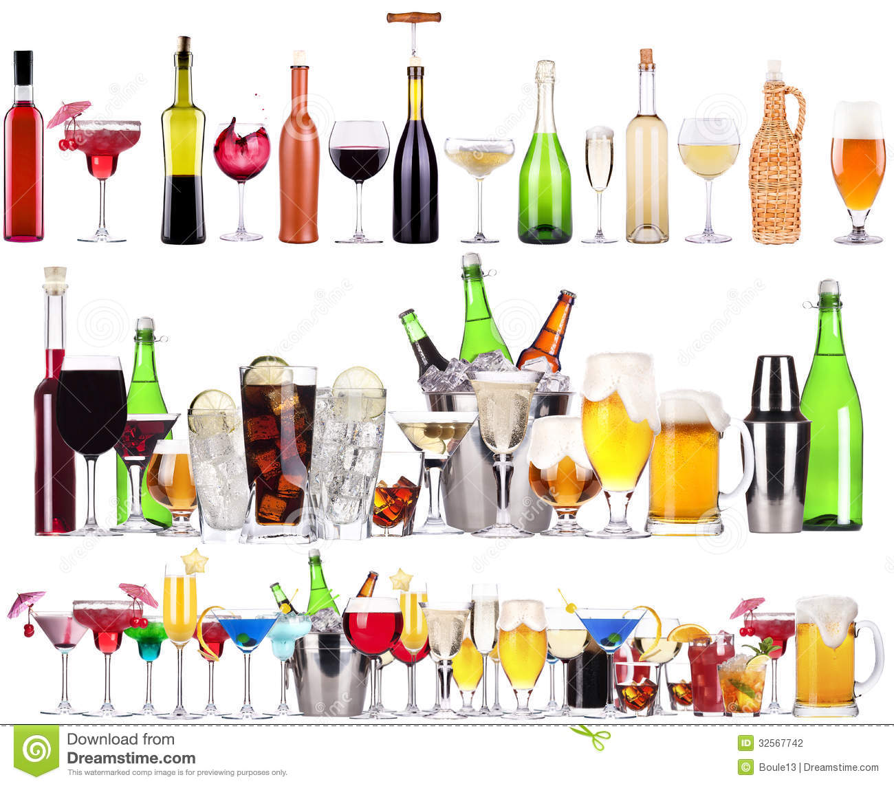 set of different alcoholic drinks and cocktails stock photo - image
