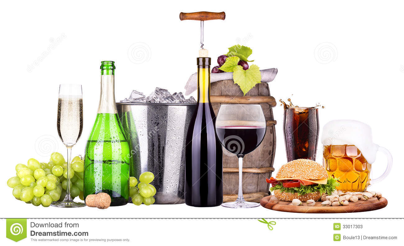 Set of different alcoholic drinks and food stock photos for Mix drinks with wine