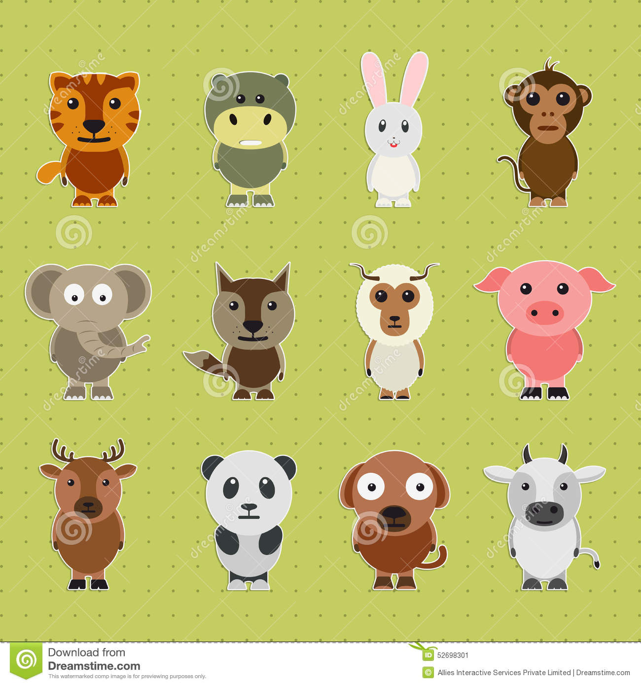 set of different animal cartoon characters stock. Black Bedroom Furniture Sets. Home Design Ideas