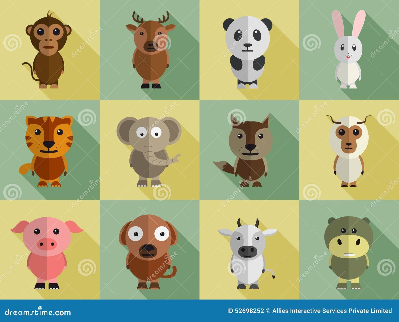 set of different animal characters stock illustration. Black Bedroom Furniture Sets. Home Design Ideas