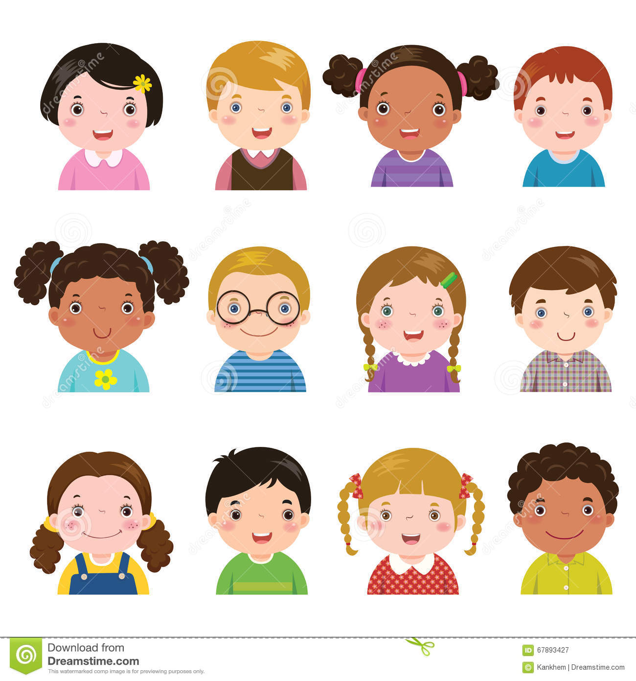 Set Of Different Avatars Of Boys And Girls Stock Vector