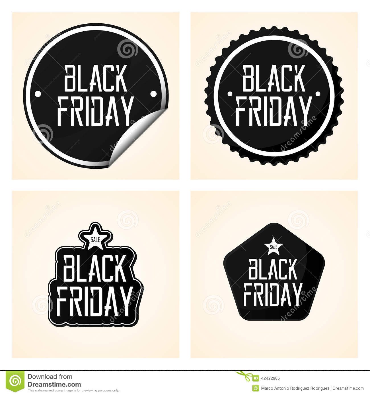 Set different black friday stickers isolated