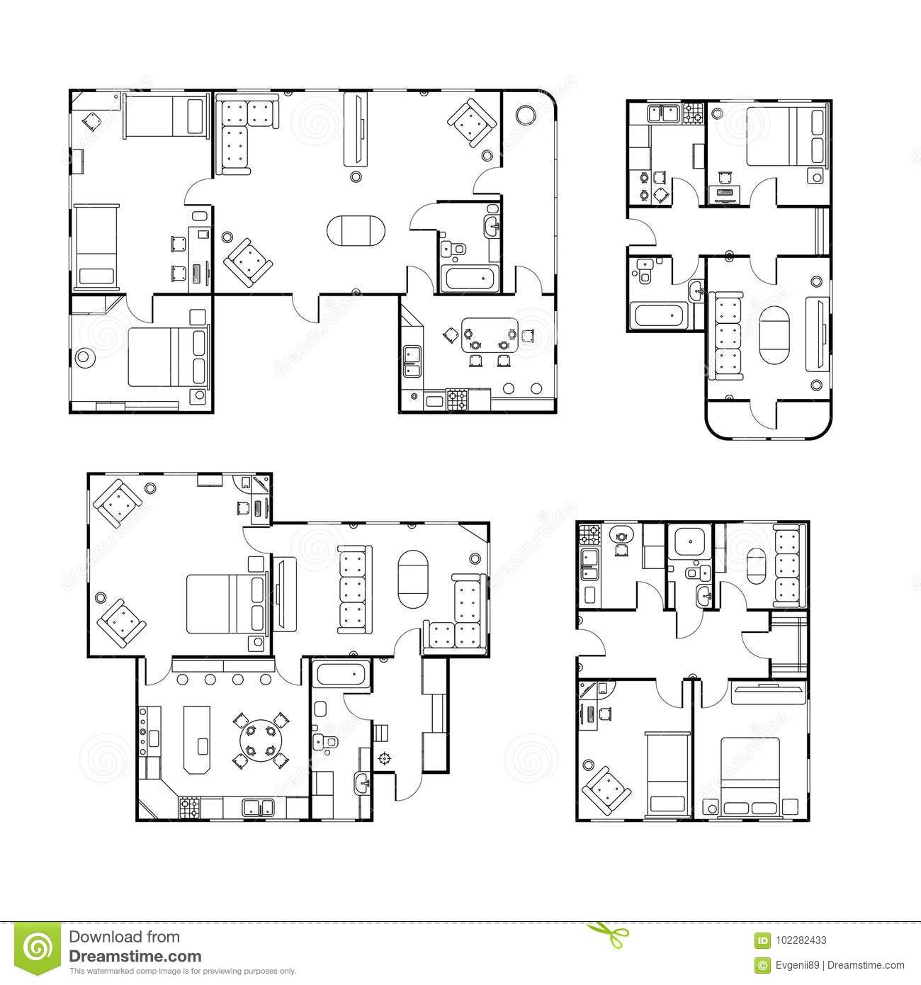 set of different black and white house floor plans with interior