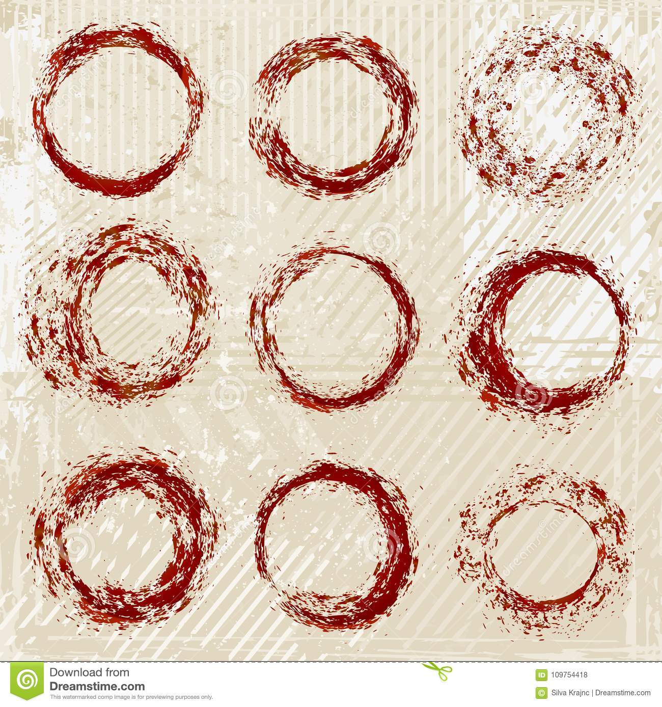 Set of different bloody circles, vector
