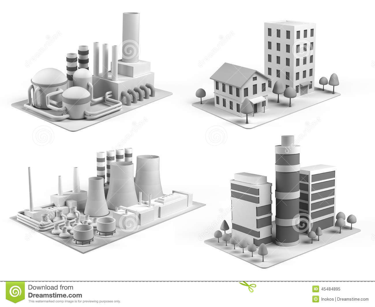 Set of different buildings office center powerhouse for Factory oficina