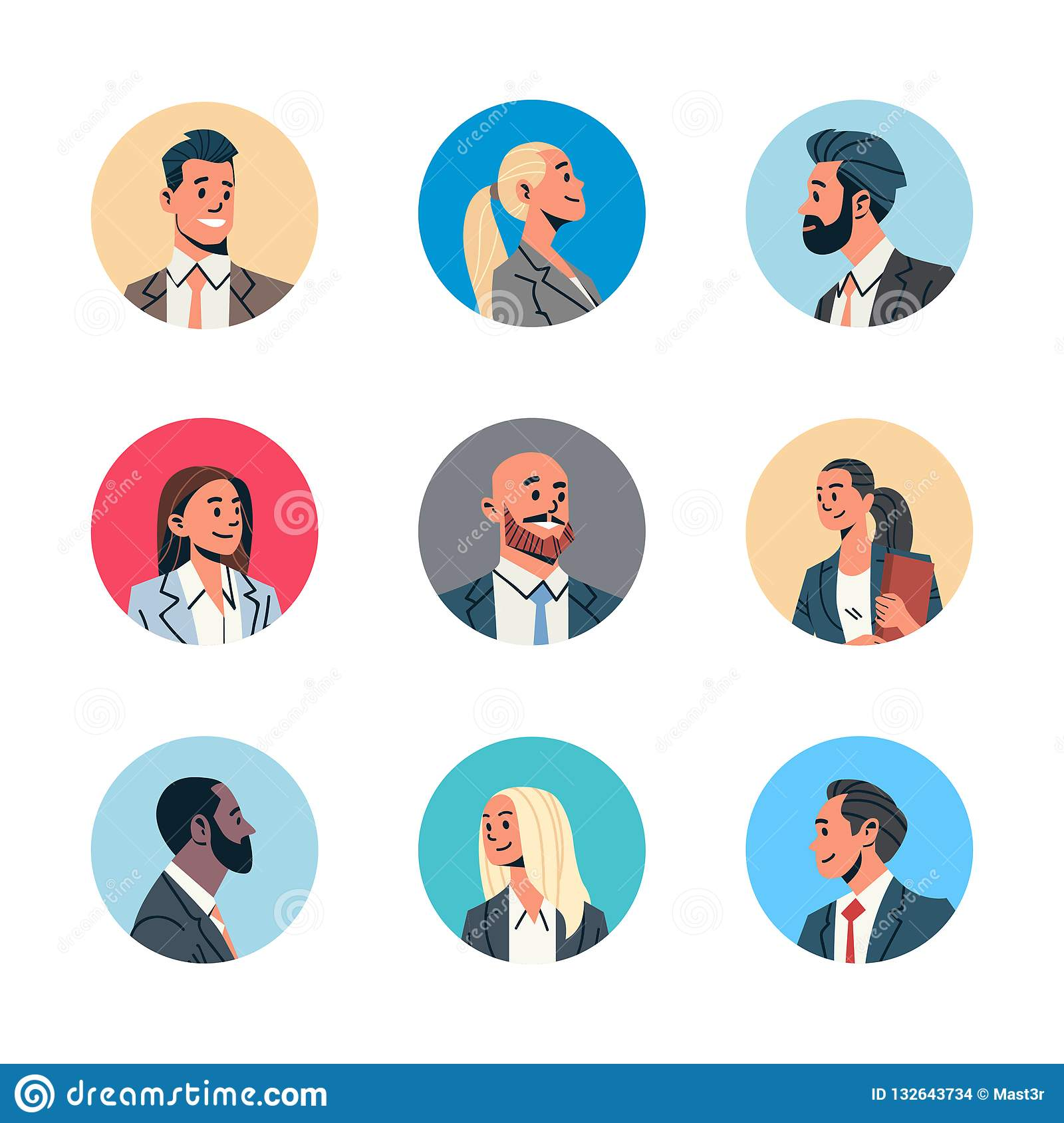 Set different business people avatar man woman face profile icon concept online support service female male cartoon