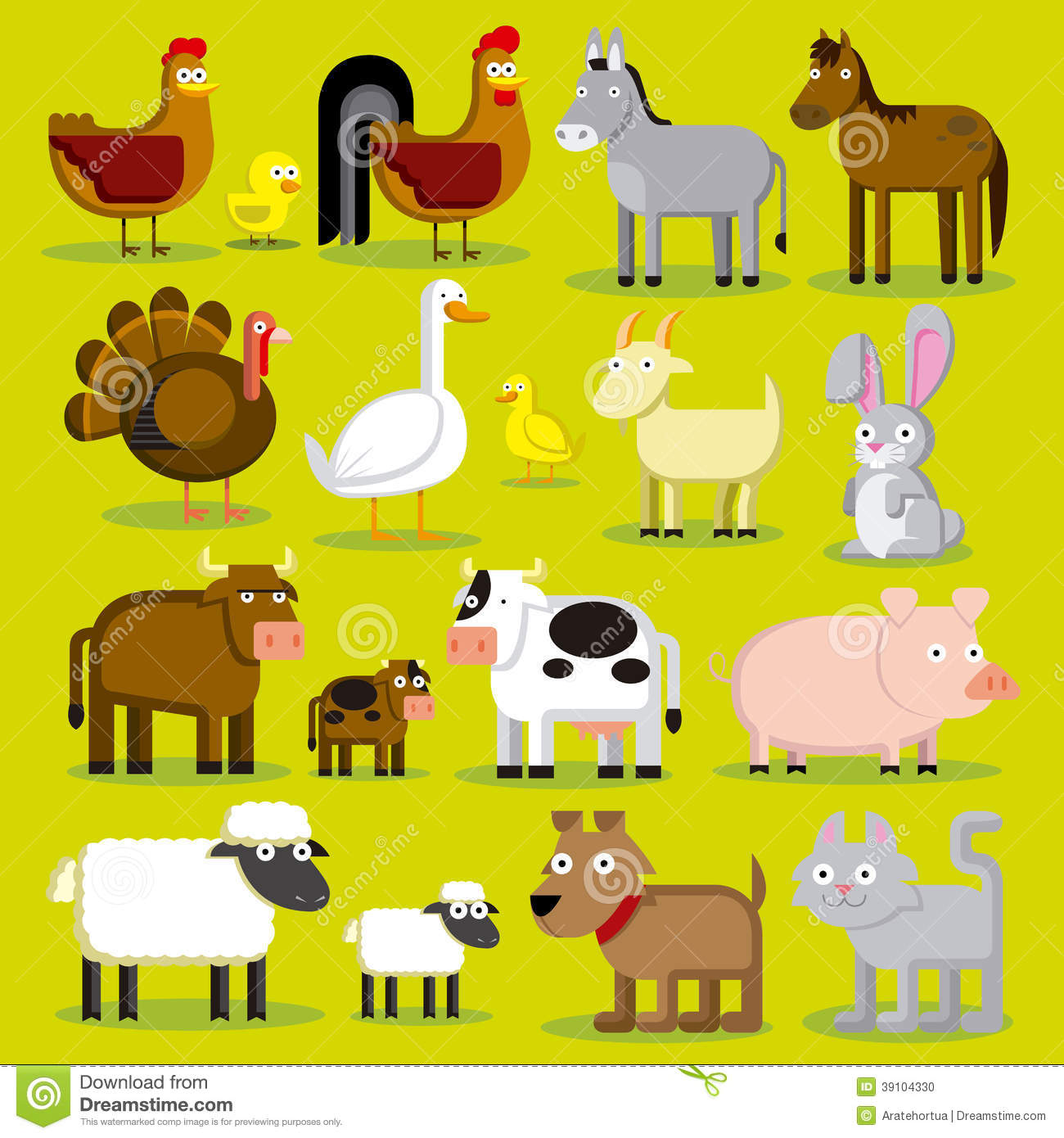 Set Of Different Cartoon Farm Animals Isolated Stock
