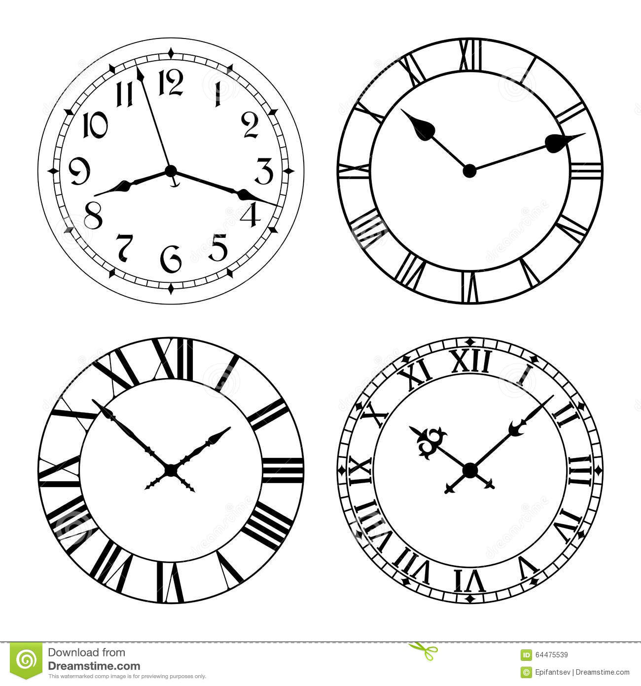 It's just a graphic of Dashing Clock Face Designs