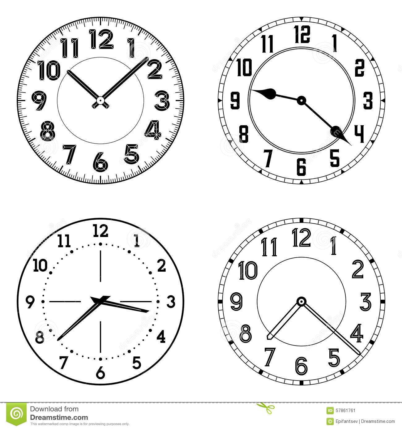 The Set Of Different Clock Faces Stock Vector Image