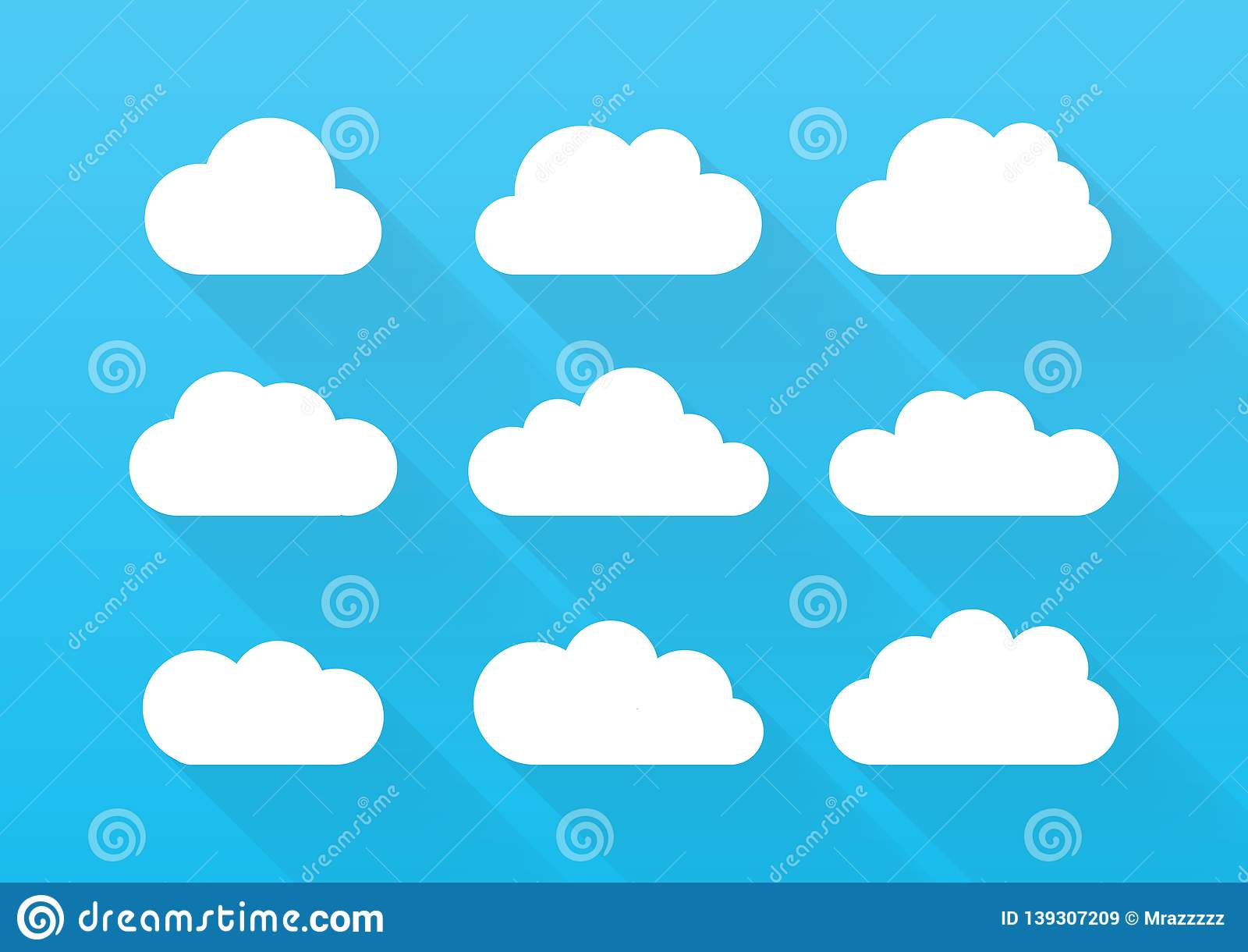 Set Of Different Clouds  Vector Sky Cartoon Illustration  Stock