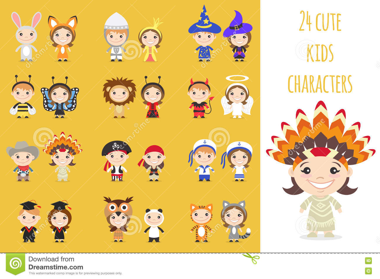Set of different colorful cartoon kids characters in different costumes