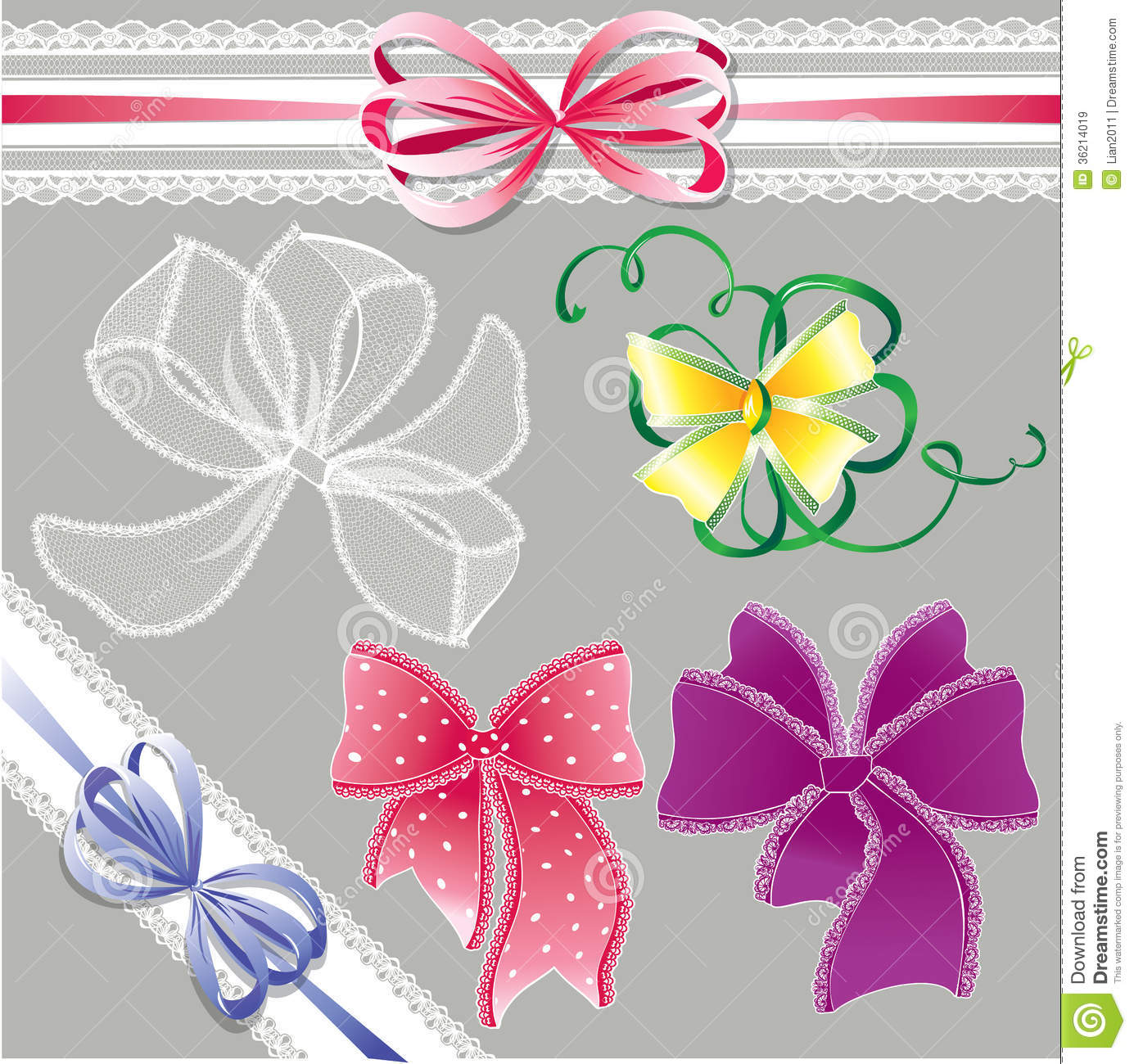 Different Art Designs : Set of different colors lace bows for holidays d royalty