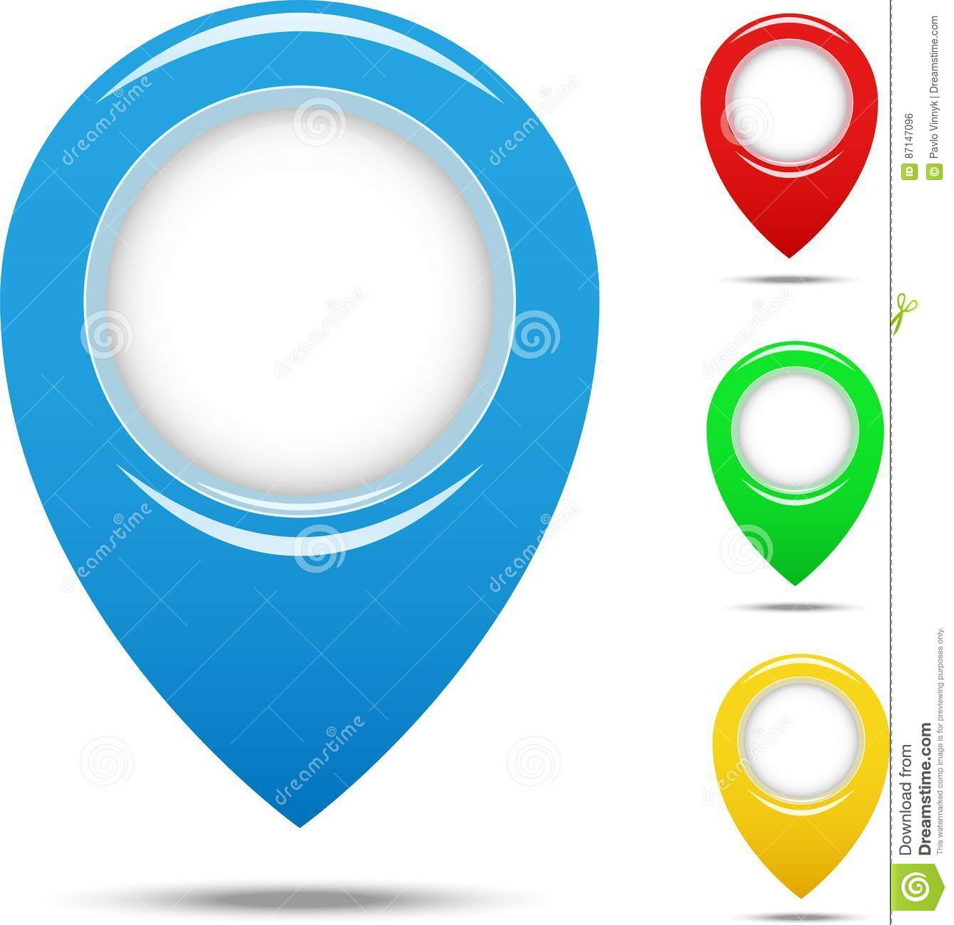 Set of different colors plastic map pointers for websites UI or applications app for smartphones or tablets