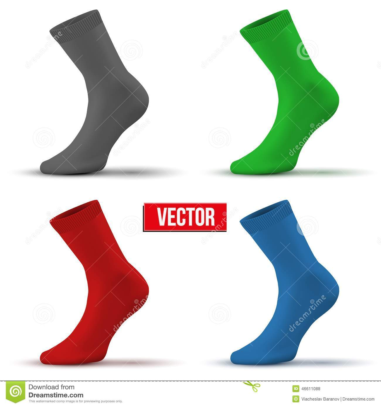 set of different colors realistic layout socks stock vector
