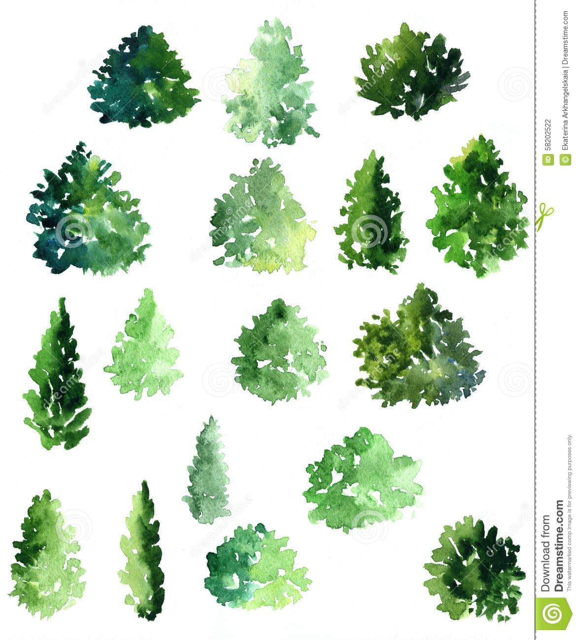 Set Of Different Deciduous Trees Stock Illustration