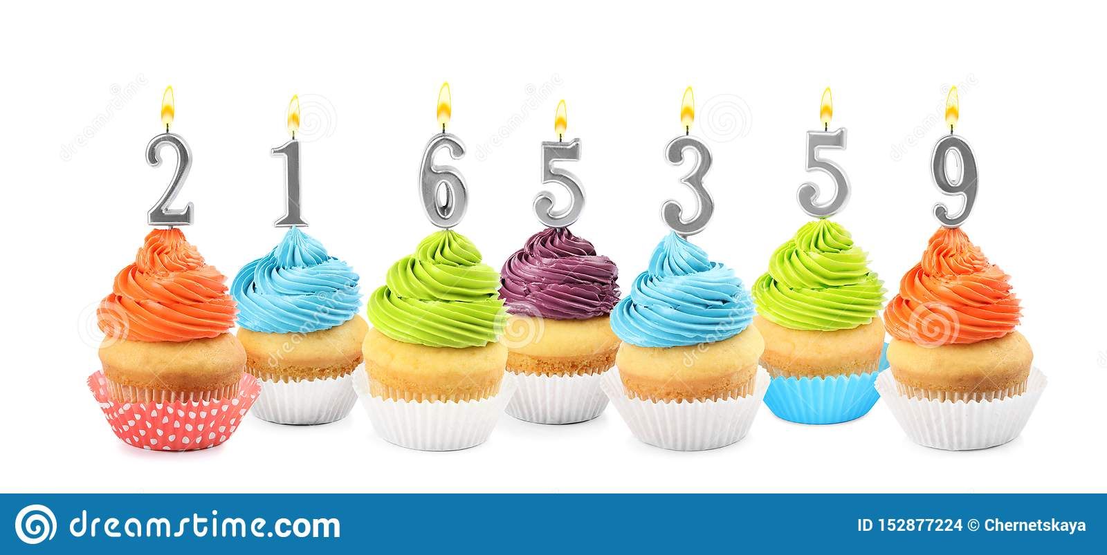 Peachy Set Of Different Delicious Birthday Cupcakes With Burning Candles Funny Birthday Cards Online Inifofree Goldxyz