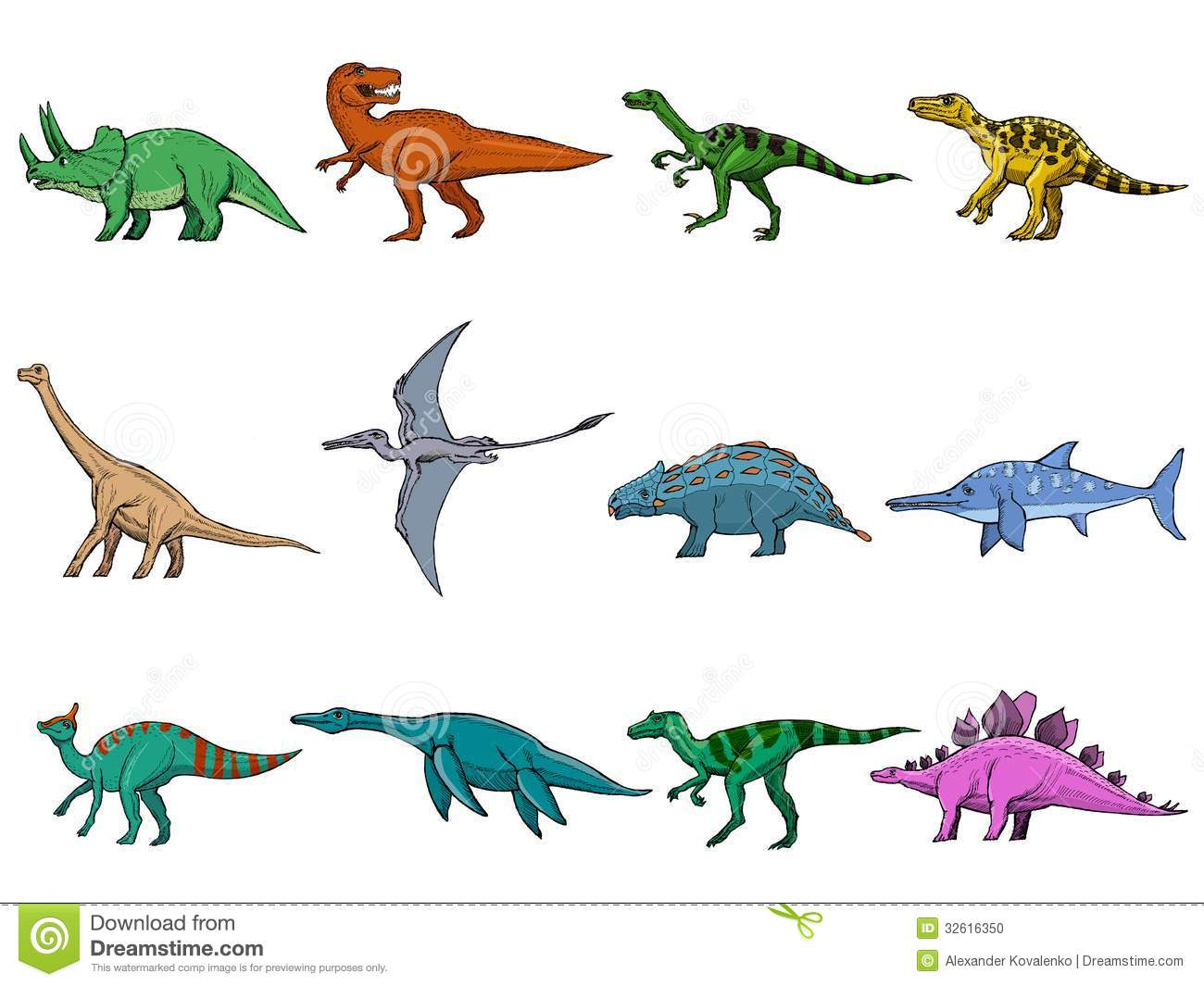 Set Of Different Dinosaurs Stock Photo - Image: 32616350