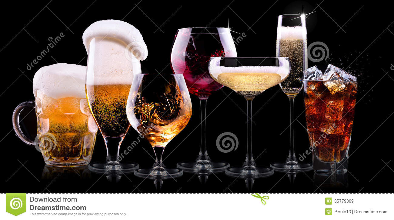 Royalty Free Stock Images Set Different Drinks Black Background Ch agne Beer Cocktail Wine Brandy Whiskey Scotch Vodka Cognac Image35779869 on black kitchen bar