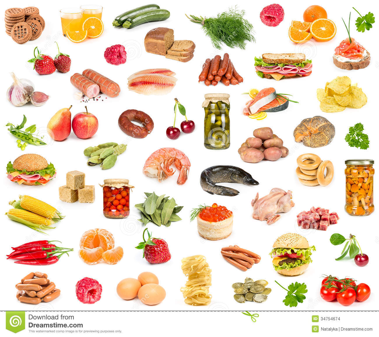 Set of different food stock images image 34754674 - Different types of entrees ...