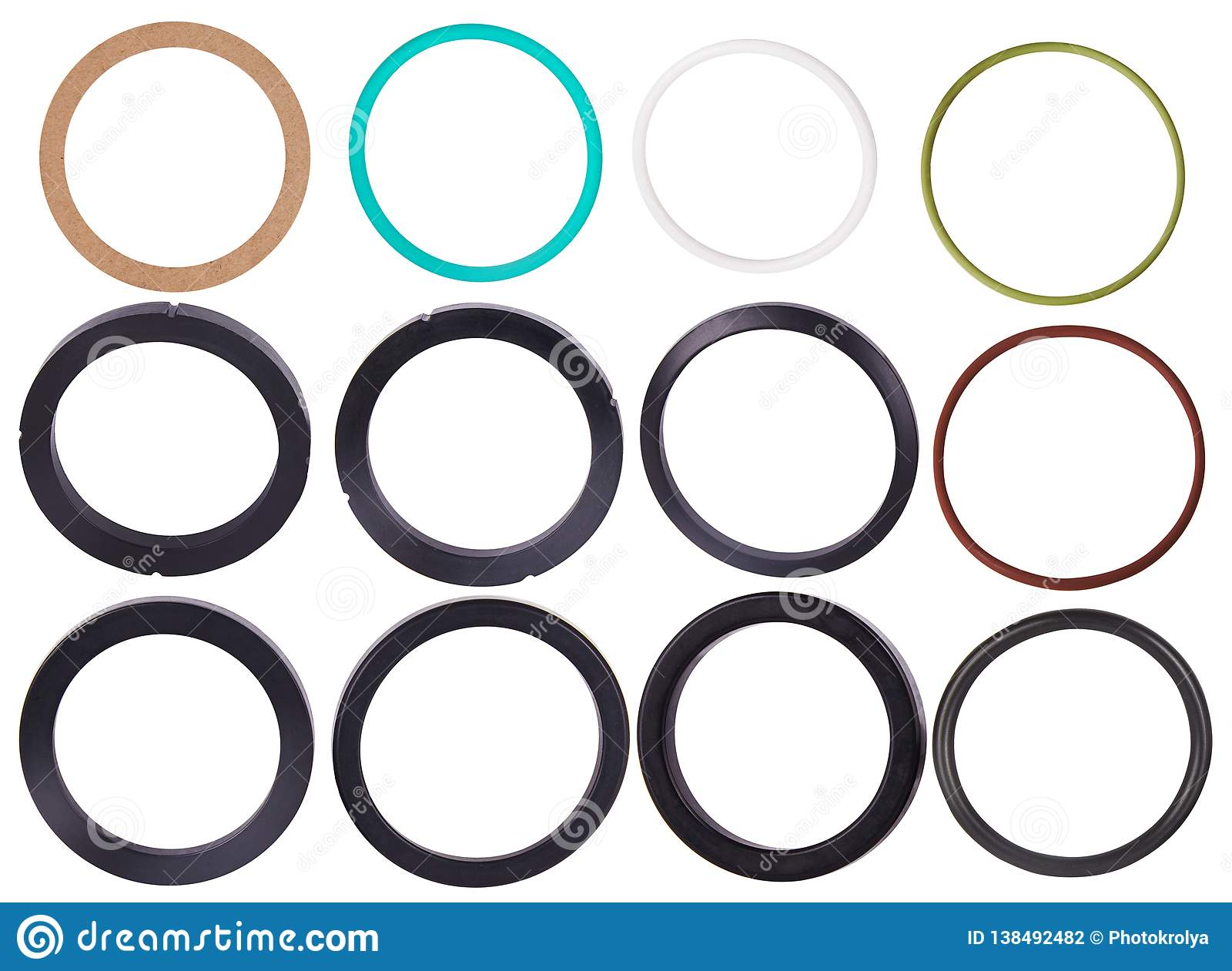 Set Of Different Gaskets Isolaled On White Background  Oil