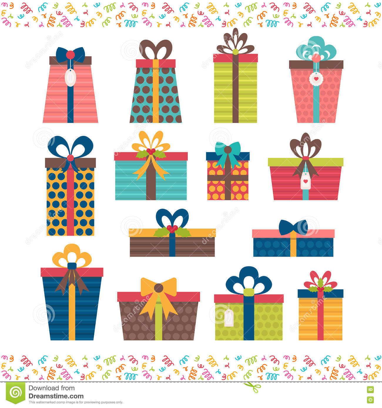 Set Of Different Gift Boxes Flat Design Birthday Surprise Stock