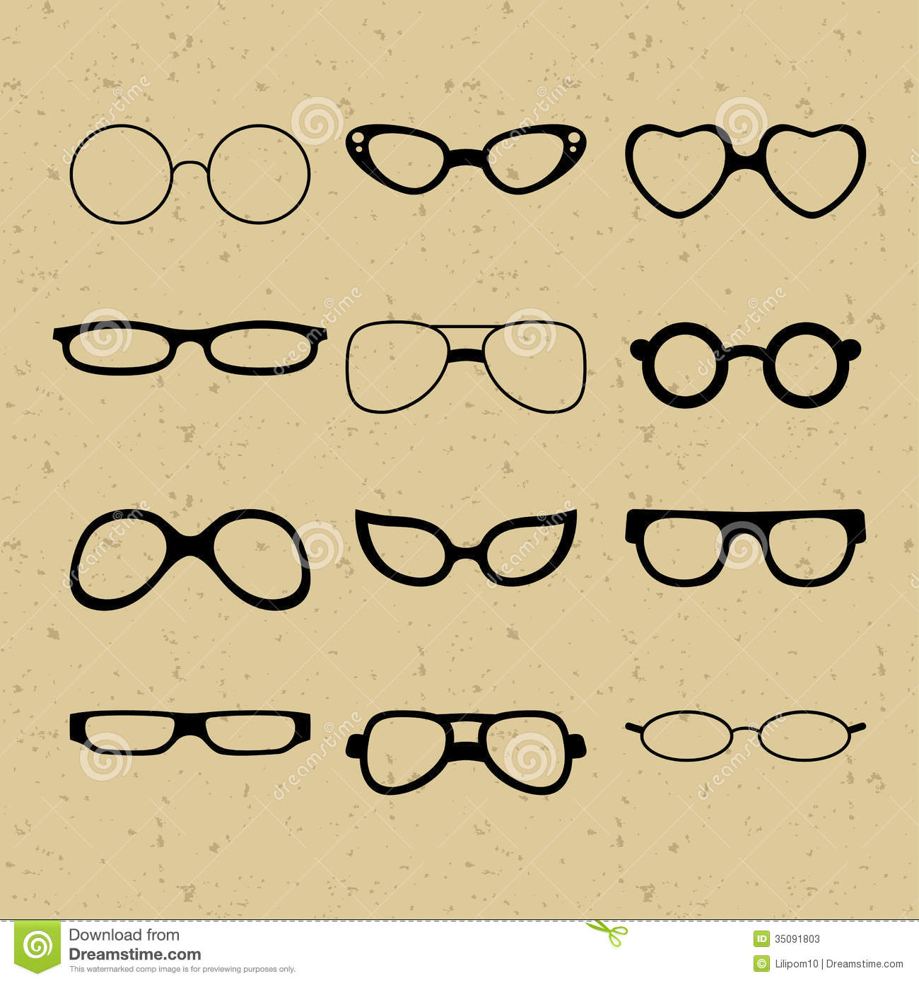 Set Of Different Glasses On The Background Of Retr Stock