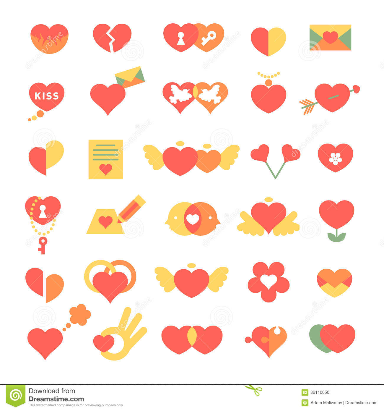 Set Of Different Hearts Icons Stock Vector Illustration Of Message
