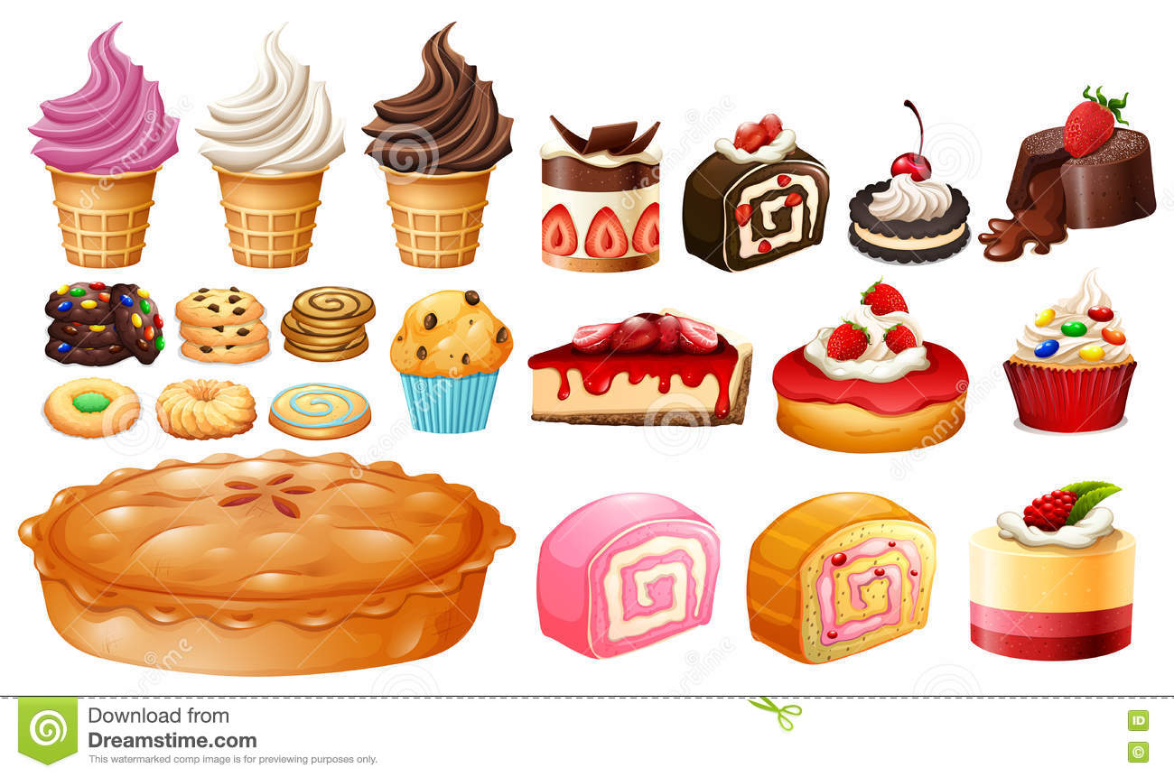 set of different kinds of desserts stock vector image 74581556