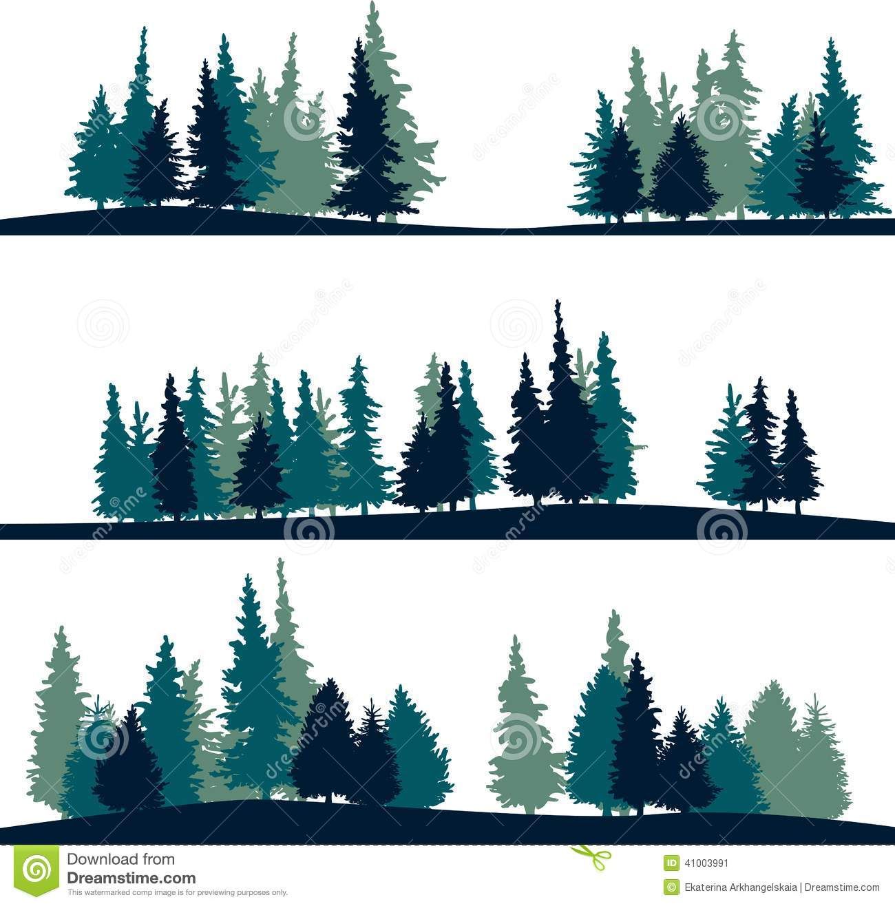 Set Of Different Landscape With Fir Trees Stock Vector