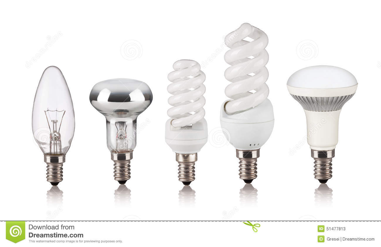Set Of Different Light Bulbs Stock Photo Image 51477813