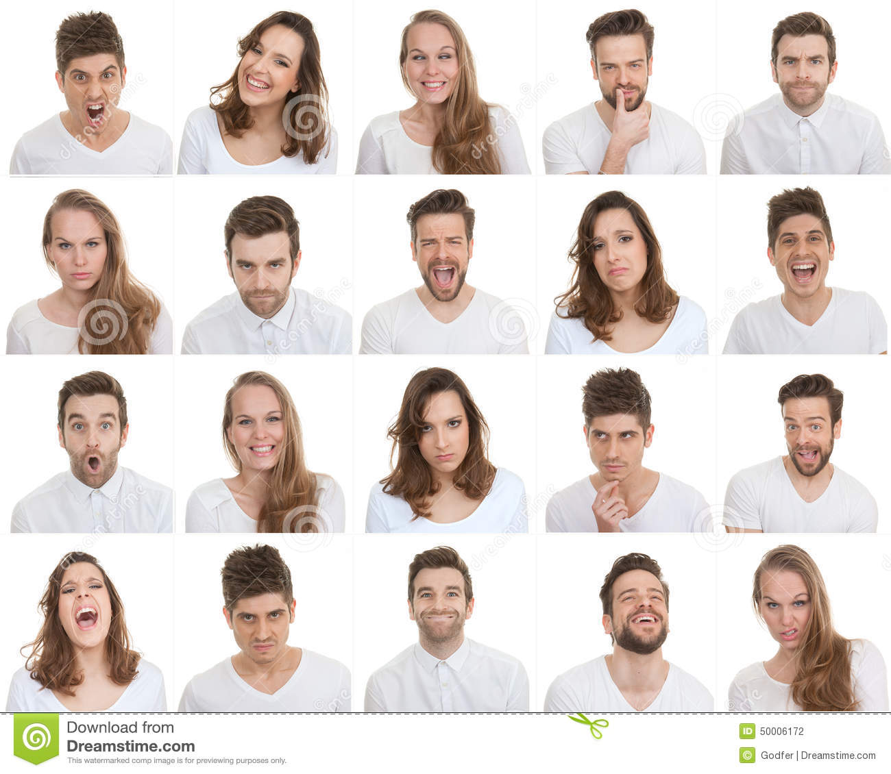 Set Of Different Male And Female Faces Stock Photo Image