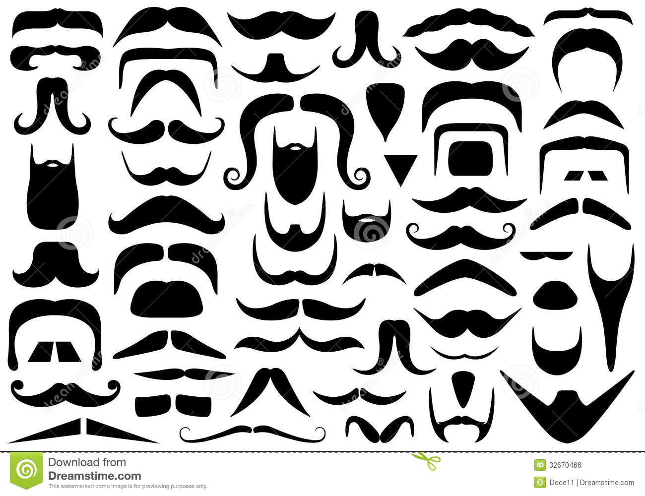Set Of Different Mustaches Stock Vector Image Of Male
