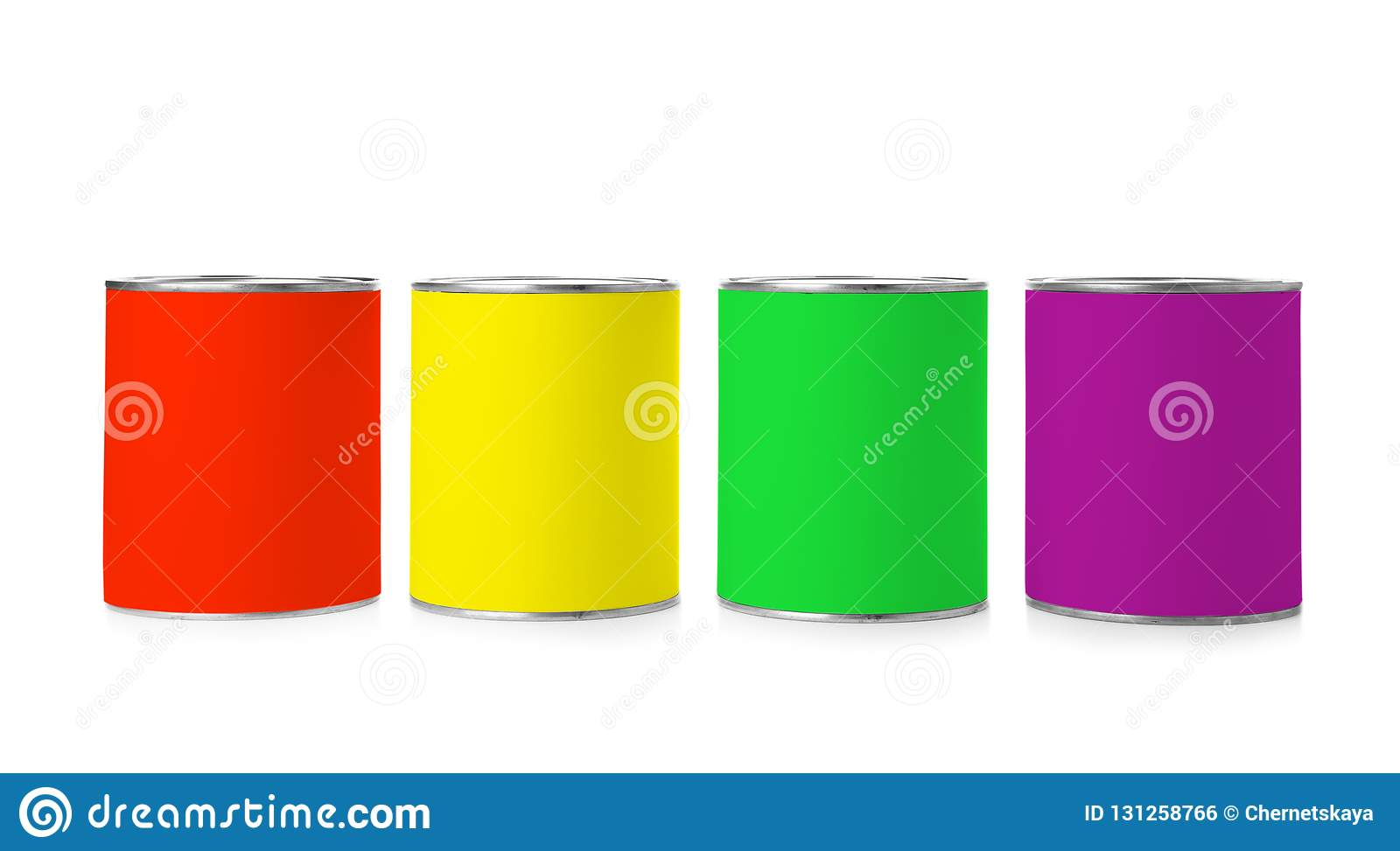 Set of different paint cans on white background
