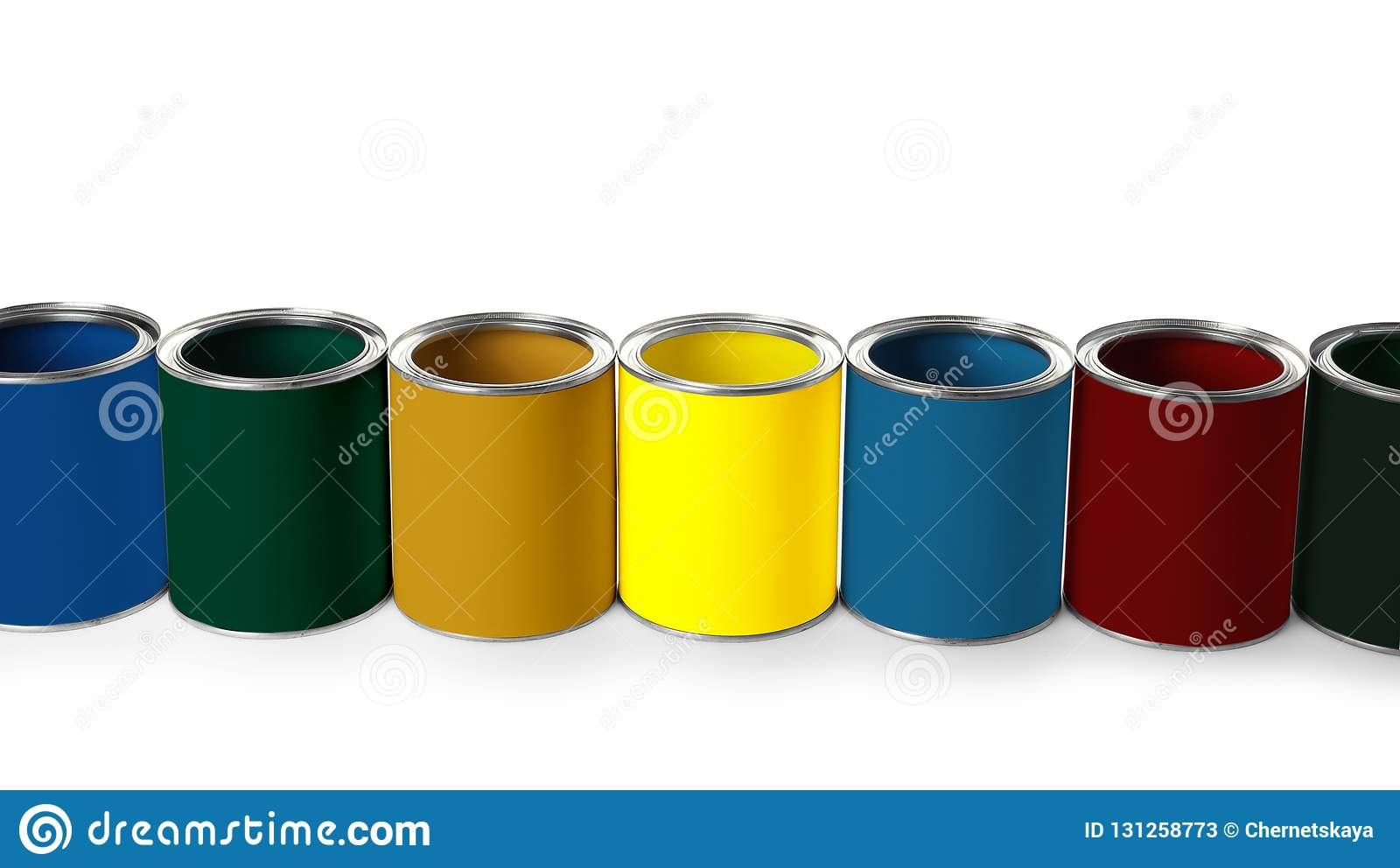 Set of different paint cans