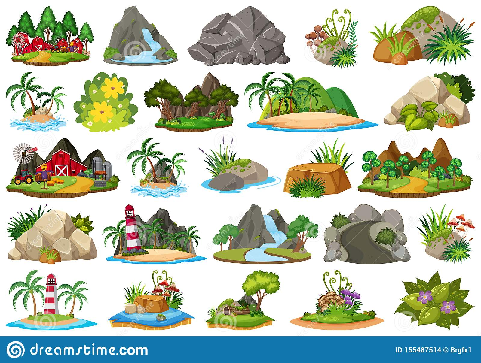 Set Of Different Plants And Landscapes Stock Vector Illustration
