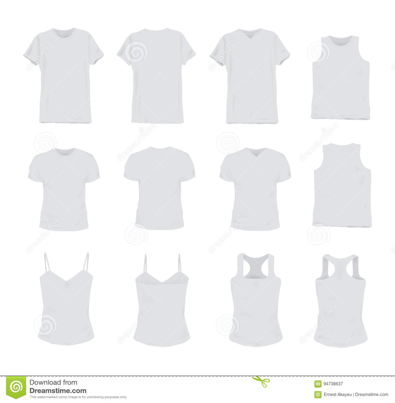 3cc9e7b8a45a0 Set of different realistic white t-shirt for man and woman. Front and back  view. Shirt sleeveless