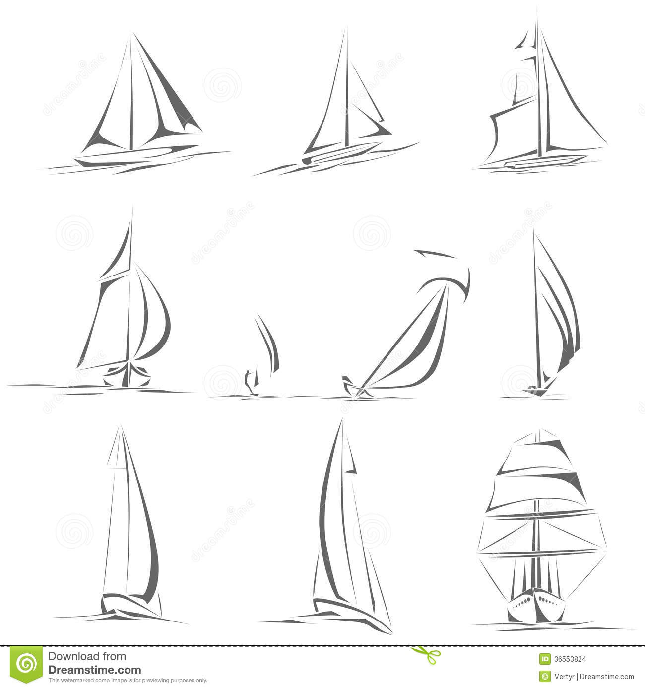 Art Line Yacht Design : Set of different sailing ships icon simple vector stock