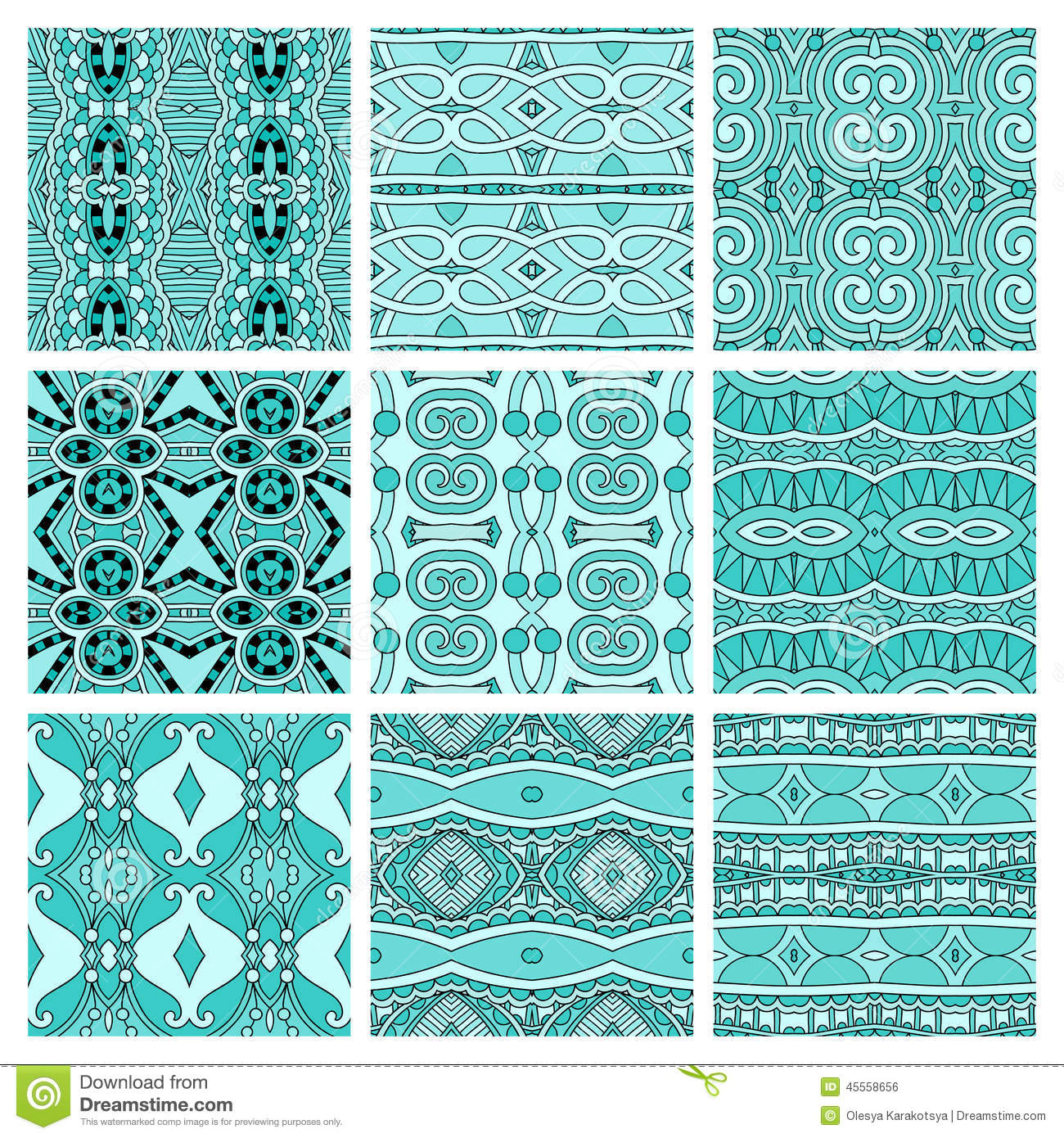 Set of different seamless colored vintage
