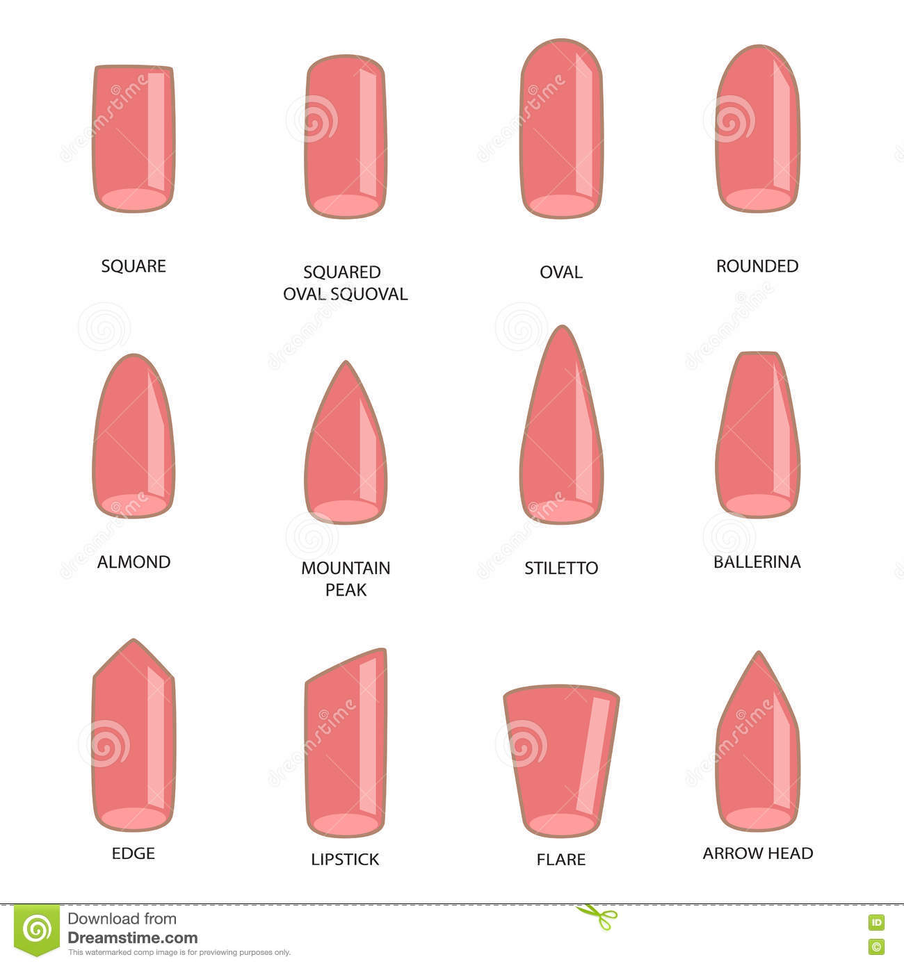 Set Of Different Shapes Of Nails On White. Nail Shape