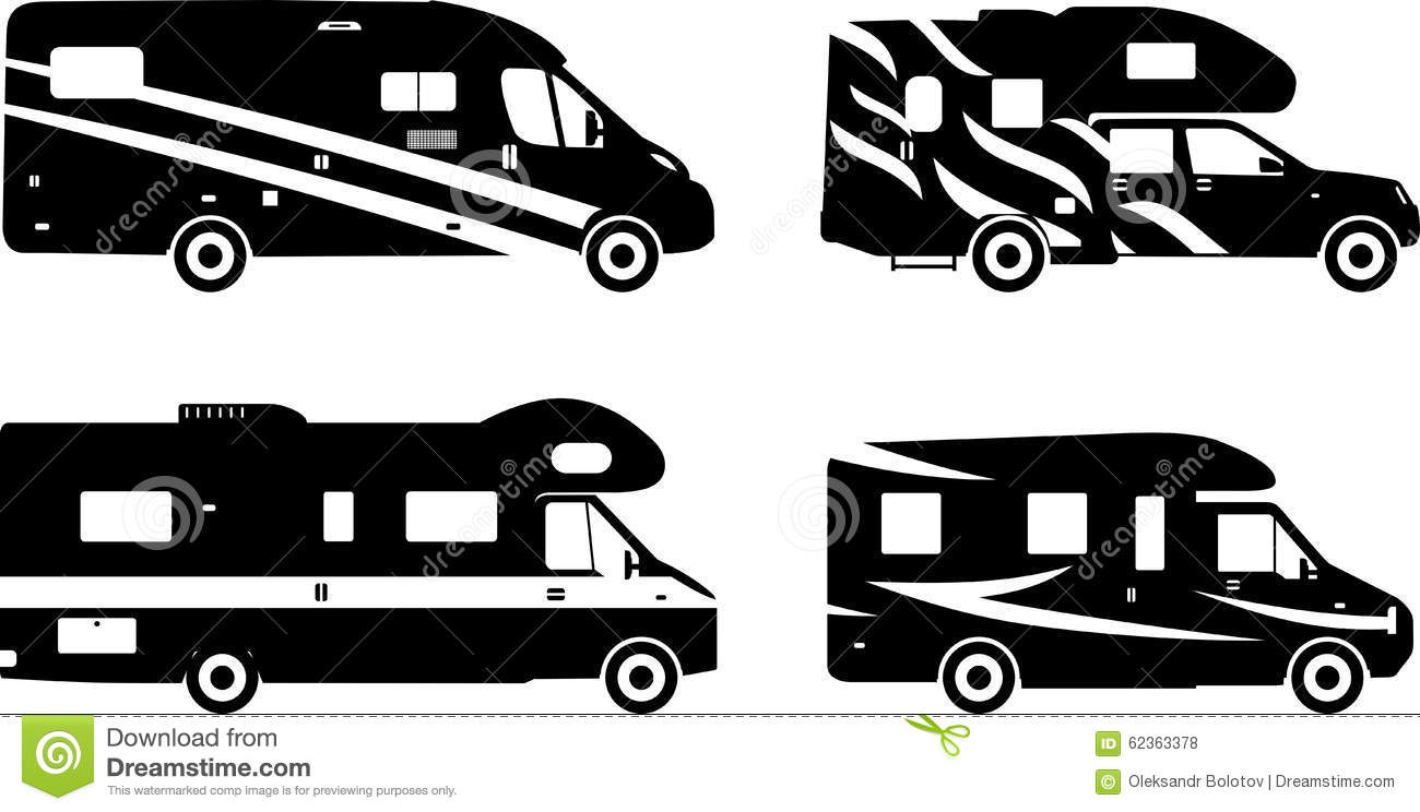 Set Of Different Silhouettes Travel Trailer Stock Vector