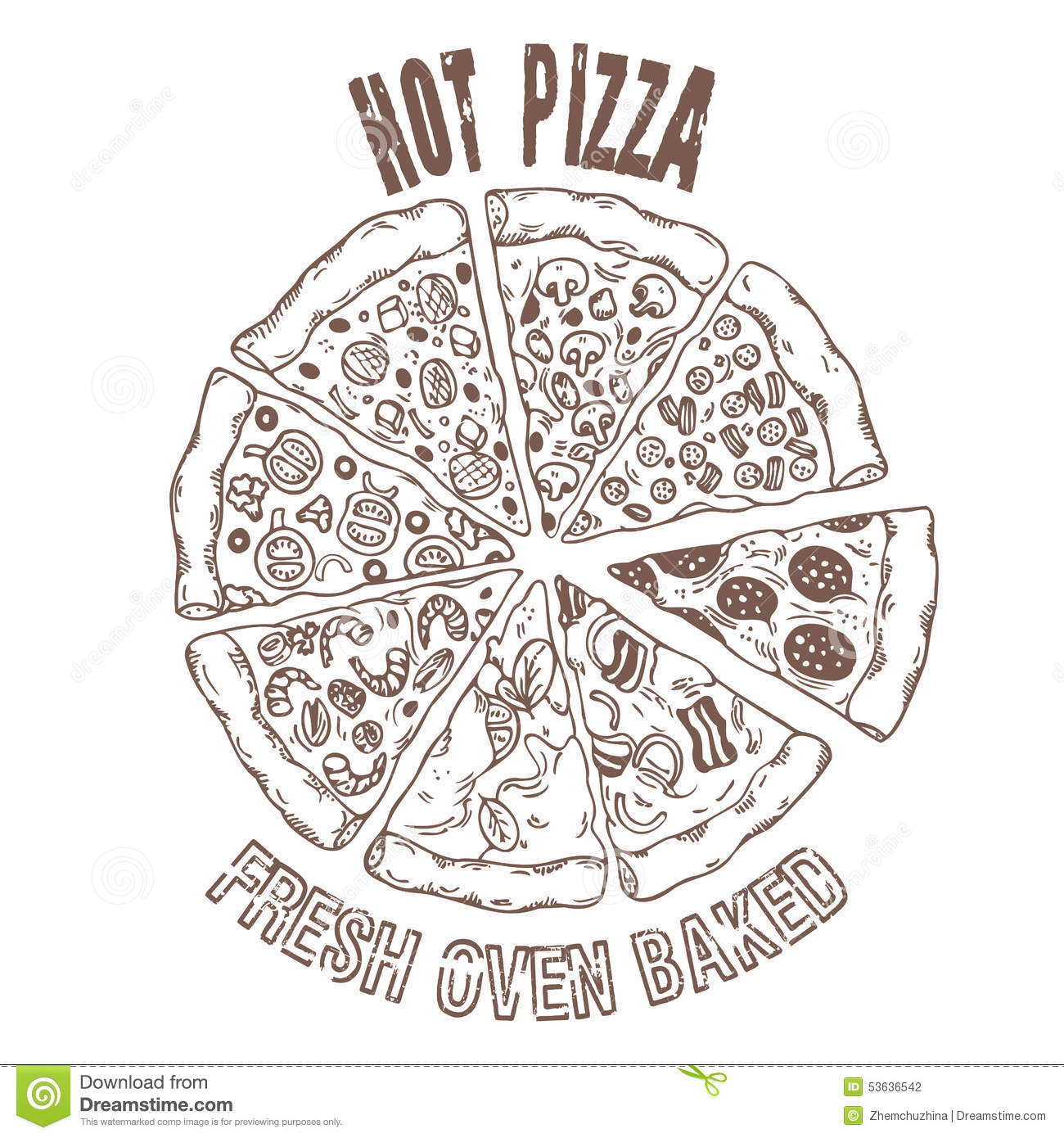 Set Of Different Slices Of Pizza In Vector. Hand Drawing Food Stock Vector - Image 53636542