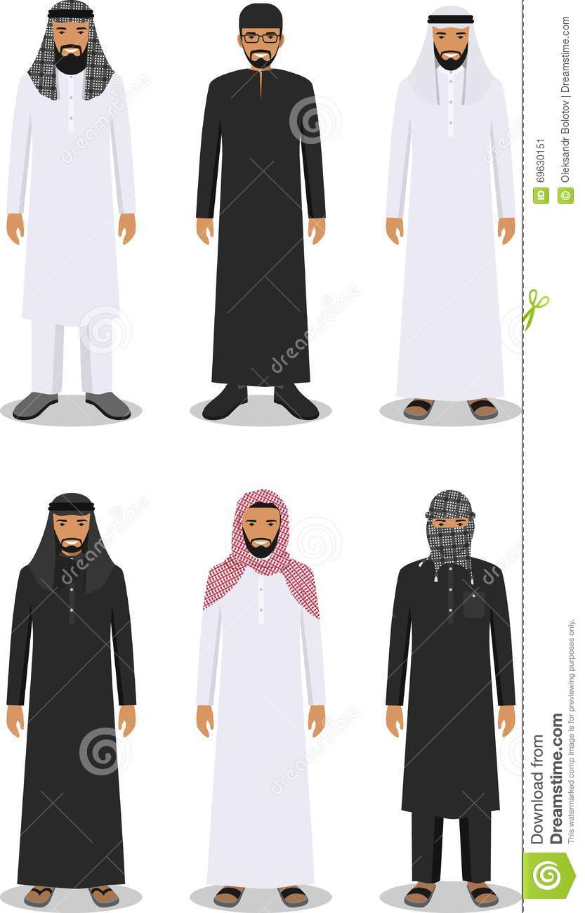Set Of Cartoon Different Arab People Man In Flat Style Vector Illustration