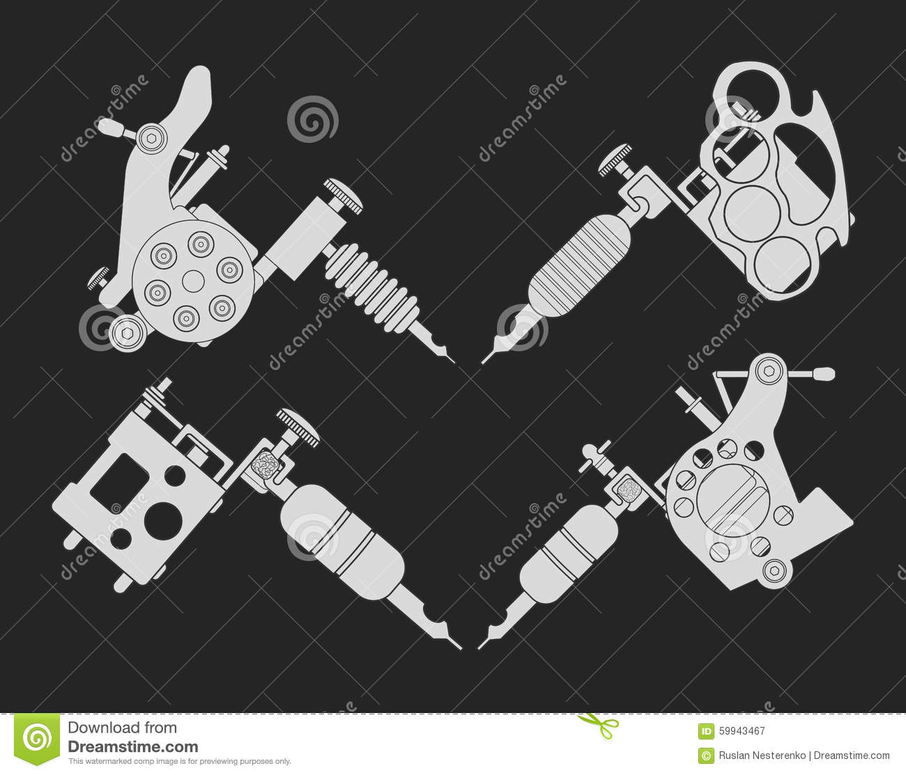Set Of 4 Different Style Tattoo Machines Chalk Stock Vector Diagram Pictures
